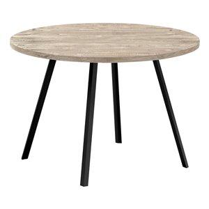 Table de salle à manger fixe ronde Standard de Monarch Specialties, surface en composite et base en métal, taupe et noir