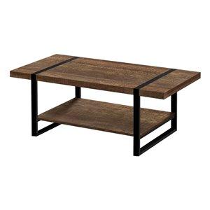 Table basse d'aspect bois récupéré et composite de Monarch Specialties, brun