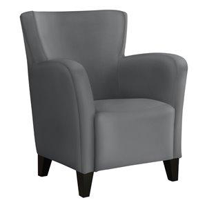 Chaise bergère capitonné contemporain en similicuir de Monarch Specialties, gris
