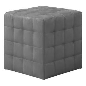 Repose-pieds carré en similicuir de Monarch Specialties, gris