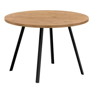 Monarch Specialties Round Fixed Standard Dining Table, Composite Top with Metal Base, Golden Pine and Black