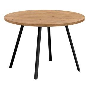 Table de salle à manger fixe ronde Standard de Monarch Specialties, surface en composite et base en métal, pin doré et noir