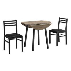 Ensemble de salle à manger avec table ronde de Monarch Specialties, taupe foncé, ensemble de 3 morceaux