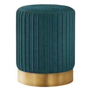 Repose-pieds glamour rond en velours de Monarch Specialties, turquoise
