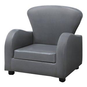 Chaise d'appoint capitonnée pour enfant de Monarch Specialties, 20 po, gris