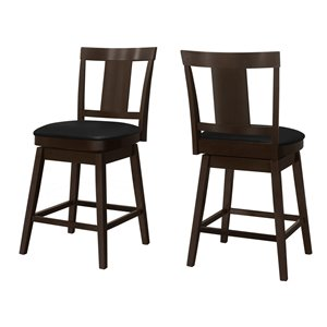 Monarch Specialties Upholstered Counter Height Stool, Espresso/Black, 2-Pack