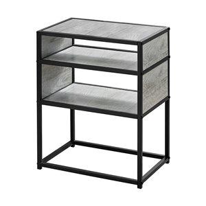 Table d'appoint rectangulaire en composite de Monarch Specialties, 22,25 po x 18 po, gris et noir