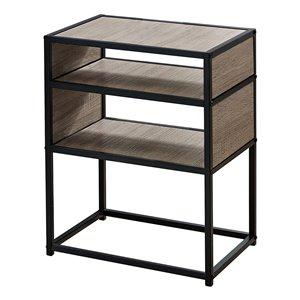 Table d'appoint rectangulaire en composite de Monarch Specialties, 22,25 po x 18 po, taupe foncé et noir