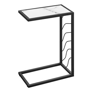 Table d'appoint en forme de C rectangulaire de Monarch Specialties, 25,25 po x 10,25 po, blanc et noir