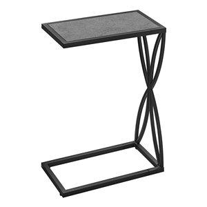 Table d'appoint en forme de C rectangulaire en composite de Monarch Specialties, 25,25 po x 10,25 po, gris et noir