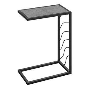 Table d'appoint en forme de C rectangulaire de Monarch Specialties, 25,25 po x 10,25 po, gris et noir