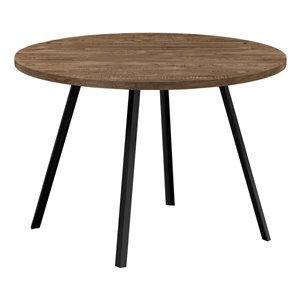Monarch Specialties Round Fixed Standard Dining Table, Composite Top with Metal Base, Brown and Black