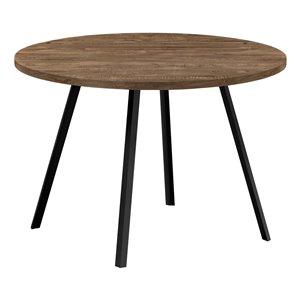 Table de salle à manger fixe ronde Standard de Monarch Specialties, surface en composite et base en métal, brun et noir
