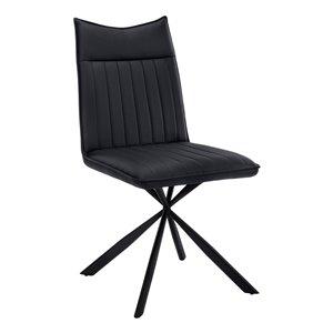 Chaise accent capitonnée de style contemporain en faux cuir de Monarch Specialties, avec base en métal, noir, ensemble de 2