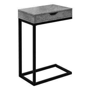 Table d'appoint en forme de C rectangulaire en composite à 1 tiroir de Monarch Specialties, 24,5 po x 16 po, gris et noir