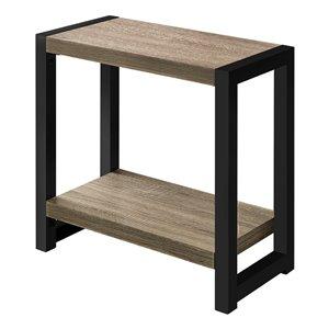 Table d'appoint rectangulaire en composite de Monarch Specialties, 22 po x 23,75 po, taupe foncé et noir