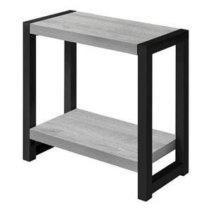 Table d'appoint rectangulaire en composite de Monarch Specialties, 22 po x 23,75 po, gris et noir