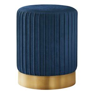Repose-pieds glamour rond en velours de Monarch Specialties, bleu