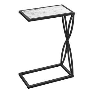 Table d'appoint en forme de C rectangulaire en composite de Monarch Specialties, 25,25 po x 10,25 po, blanc et noir