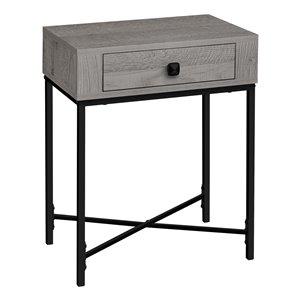 Table d'appoint rectangulaire en composite à 1 tiroir de Monarch Specialties, 22,5 po x 18,25 po, gris et noir