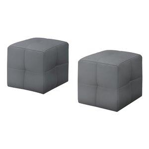 Repose-pieds décontracté carré en similicuir de Monarch Specialties, gris