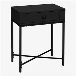 Table d'appoint rectangulaire en composite à 1 tiroir de Monarch Specialties, 22,5 po x 18,25 po, noir