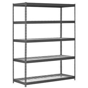 Muscle Rack 5-Tier Steel Industrial Freestanding Shelving Unit - 24-in D x 60-in W x 78-in H - Black