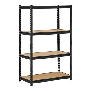 Muscle Rack 4-Tier Steel Industrial Freestanding Shelving Unit - 18-in D x 36-in W x 60-in H - Black