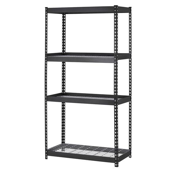 Muscle Rack 4-Tier Steel Industrial Black Freestanding Shelving Unit - 18-in D x 36-in W x 60-in H