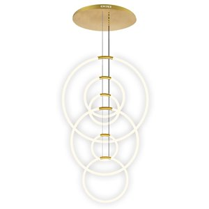 CWI Lighting Hoops Modern/Contemporary Integrated LED Satin Gold Chandelier