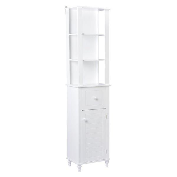 Armoire à linge autoportante en MDF Acil II de A&E Bath & Shower, 46 po L x 72 po H x 12 po P, blanc