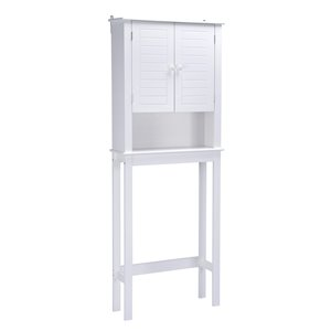 A&E Bath & Shower Axil V MDF Over the Toilet Etagere - 24-in W x 63-in H x 9-in D - White