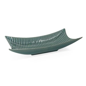Gild Design House Amalyn Teal Decorative Ceramic Tray 11-in Blue