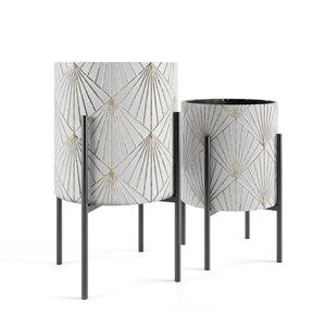 Jardinière métallique en lot de 2 par Gild Design House, 14 po l x 23 po H, blanc et or