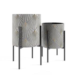 Jardinière métallique en lot de 2 par Gild Design House, 14 po l x 23 po H, gris et or