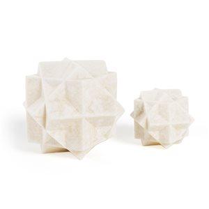 Sculpture d'orbes Cayson de 7 po en résine par Gild Design House, lot de 2