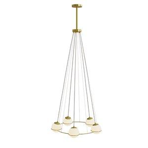 Chandelier moderne contemporain à 5 lumières par Gild Design House, or et laiton