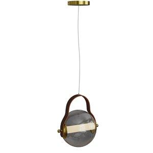 Luminaire à suspension en verre teinté gris et LED intégré par Gild Design House, taille moyenne