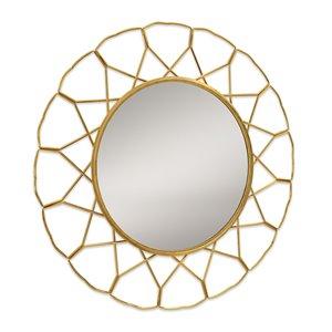 Miroir mural rond en métal doré par Gild Design House, 1 po L x 33 po l