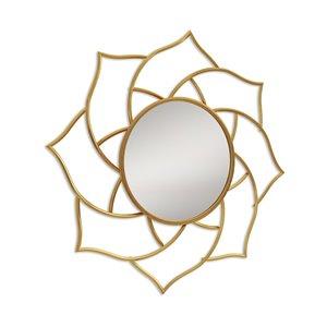 Miroir mural rond en métal doré par Gild Design House, 2 po L x 36 po l
