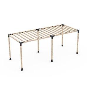 Toja Grid Double Pergola Kit with 2x4 KNECT Rafter Brackets - 4x4 Wood