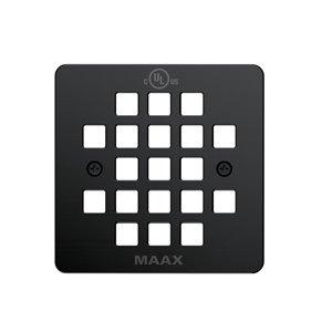 Maax Matte Black Metal Square Shower Drain Grid