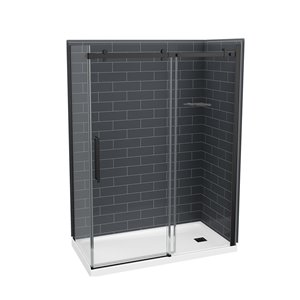 Maax Utile Ash Grey 83-in x 32-in x 60-in 5-Piece Rectangular Corner Shower Kit with Right Drain