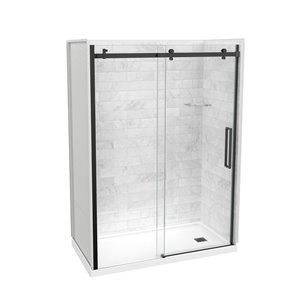 Maax Utile Marble Carrara 5-Piece 32-in x 60-in x 83-in Alcove Shower Kit with Right Drain