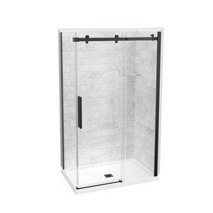 Ensemble de douche rectangulaire en coin 5 morceaux Utile par Maax, 83 po x 32 po x 48 po, marbre Carrara