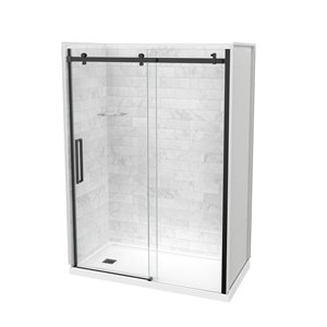 Maax Utile Marble Carrara 5-Piece 32-in x 60-in x 83-in Alcove Shower Kit with Left Drain