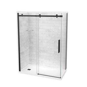 Maax Utile Marble Carrara 83-in x 32-in x 60-in 5-Piece Rectangular Corner Shower Kit with Right Drain