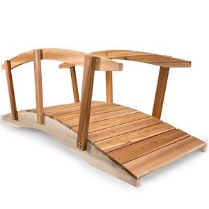 All Things Cedar 8-ft Natural Wood Cedar Garden Bridge