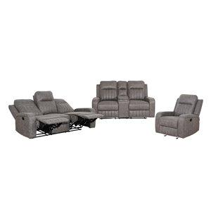 Mazin Industries Charles Living Room Set - Polished Grey