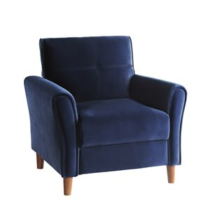 Chaise d'appoint velours moderne bleu Dunleith de HomeTrend, ens. de 1